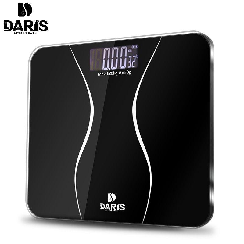 SDARISB Bathroom Scales Floor Body Smart Electric Digital Weight Health <font><b>Balance</b></font> Scale Toughened Glass LCD Display 180kg/50g