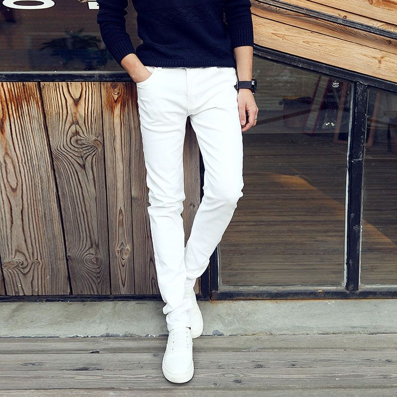 Fashion 2018 Summer Casual Thin Youth business white Stretch jeans pants male teenagers trousers Skinny jeans men leggings