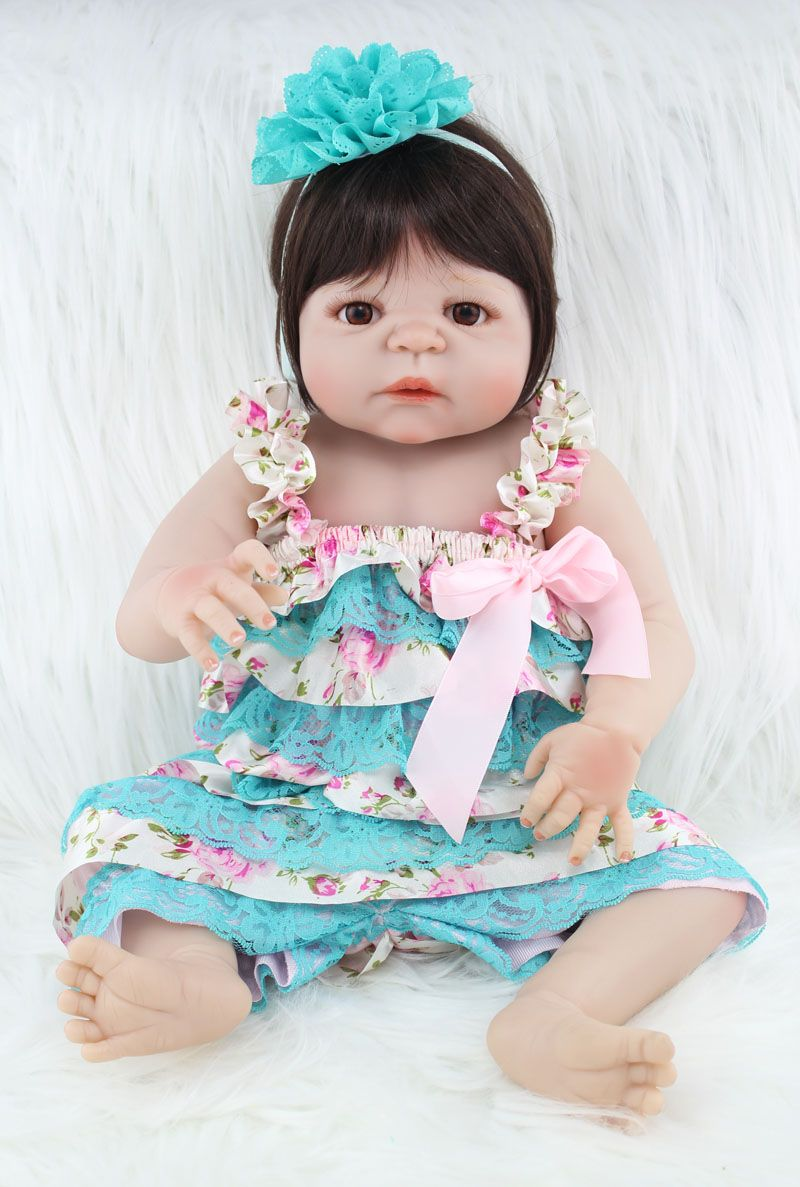 55cm Full body silicone reborn baby girl doll toys lifelike newborn princess babies doll for sale cheap kids gifts bathe toy