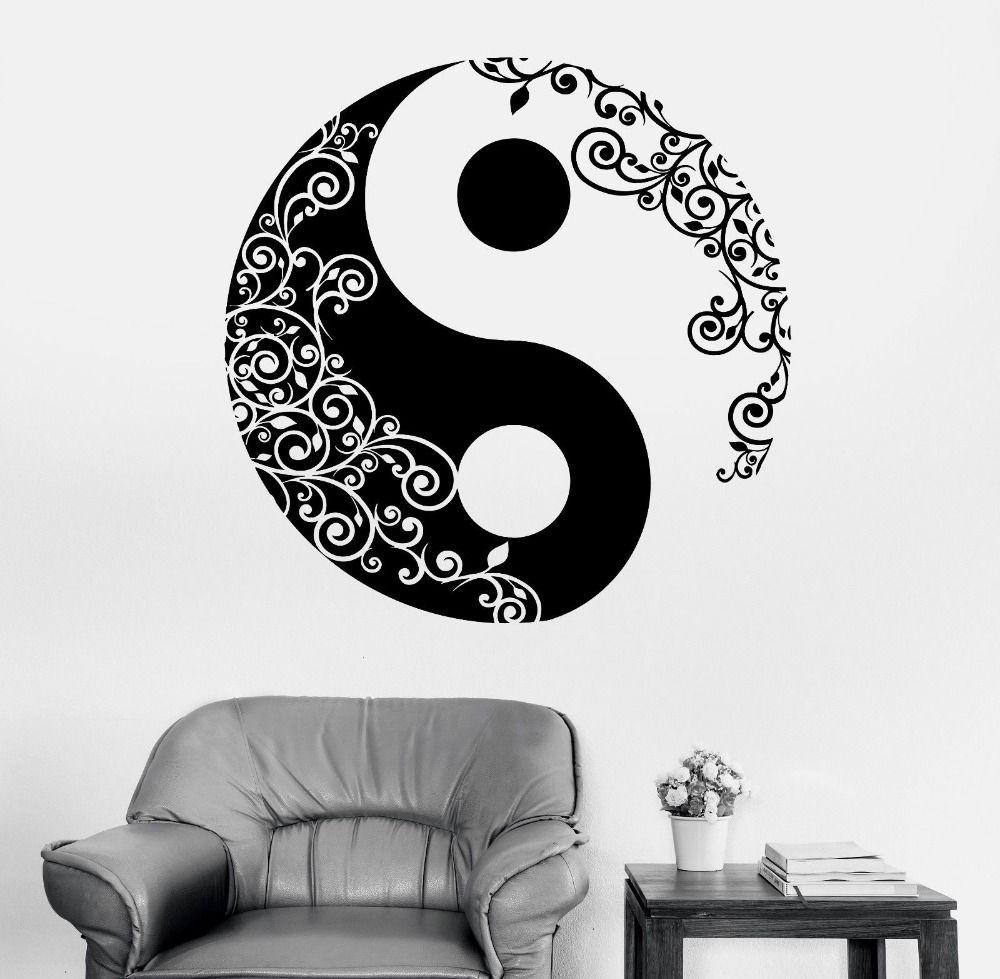 Mandala Mur Autocollant de Décalque de Maison Bouddha Yin Yang Floral Yoga Méditation Décalque de Vinyle Mur Art Mural Décor À La Maison Décoration D175