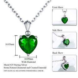 DOUBLE-R 925 Sterling Argent Émeraude Collier Saphir Pendentif Rubis bijoux coeur Colliers et Pendentifs pour les femmes argent 925