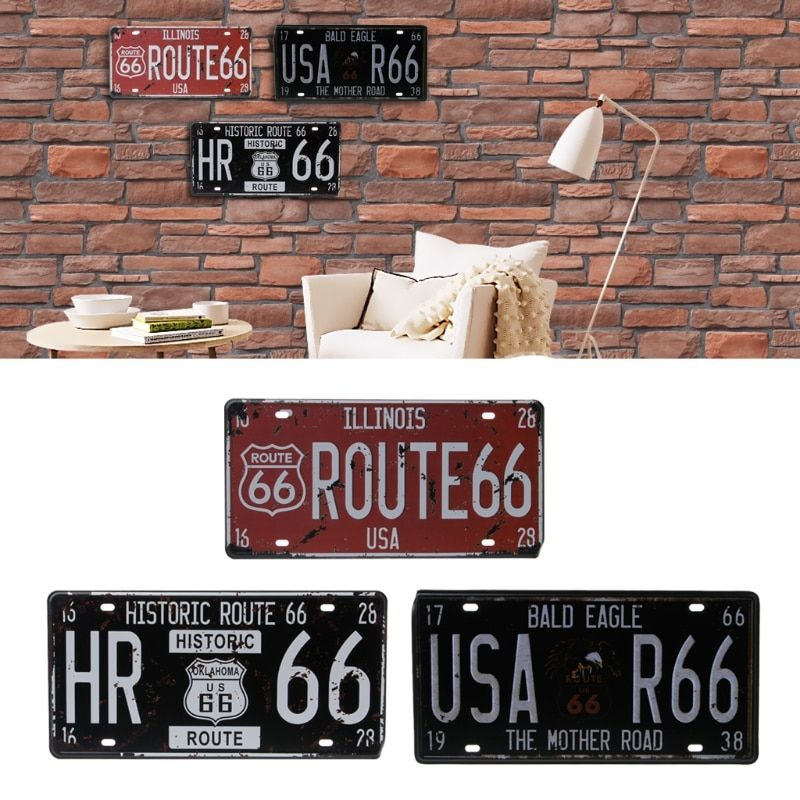 Fashion New USA Route 66 Vehicle Car Vintage License Plate Metal Wall Craft Retro Garage Home Decor Car Accessories Universal