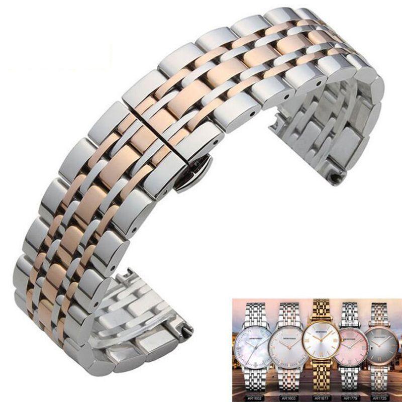 Métal En Acier Inoxydable Bracelet De Montre Bracelet 16mm 18mm 20mm 22mm Remplacement Fermoir Papillon Bracelet Hommes femmes Noir Or Rose