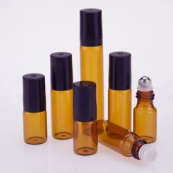 20 pcs/lot 3 ML 5 ML 10 ML kaca roll on botol untuk minyak esensial, parfum isi ulang wadah dengan stainless steel roller bola