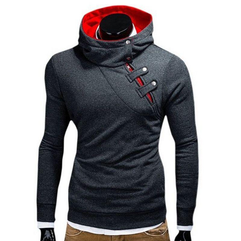 Hoodies Men Hip hop Sweatshirt Fashion Mens hoodies 2017 brand Autumn Winter Cotton pullover Button Turtleneck male hoody