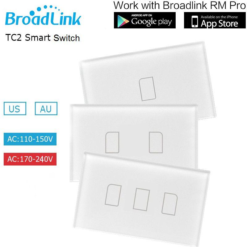 Broadlink TC2 Commutateur De Lumière Intelligente 1 2 3 Gang NOUS Standard Interrupteur De Contrôle À Distance, Contrôle Sans Fil Interrupteur Tactile Mural