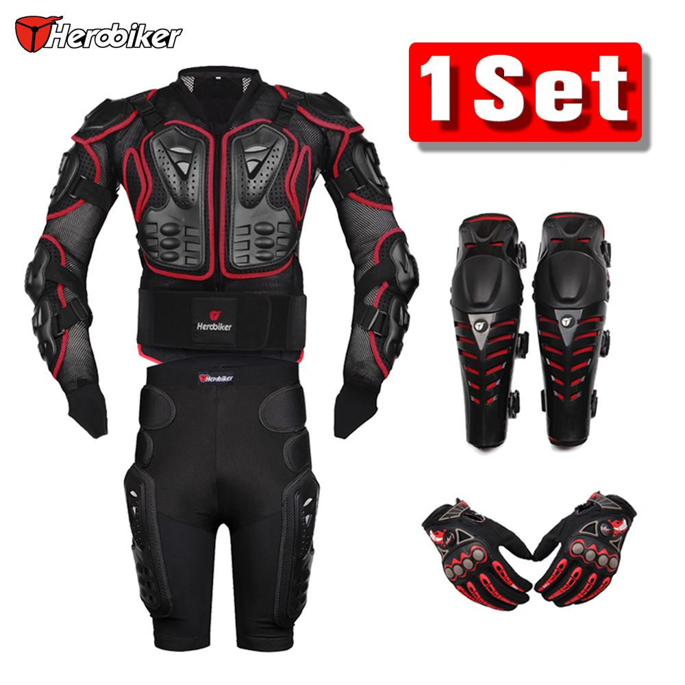 HEROBIKER Red Motocross Racing Motorcycle Body Armor Protection Motorcycle Jacket+Shorts Pants+Protective Gear Knee Pads+Gloves