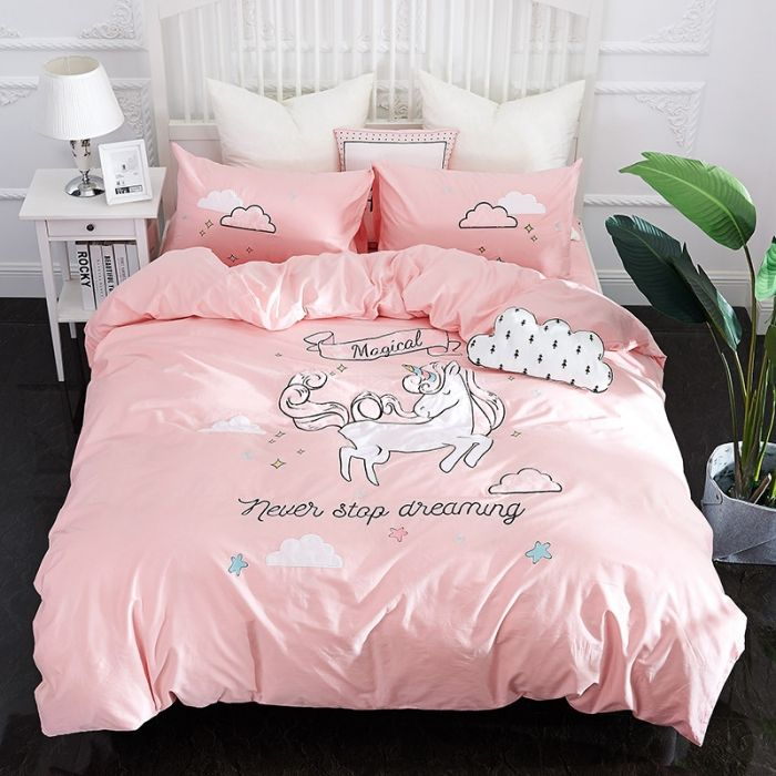 New Pink Unicorn bedding sets Embroidery bed set double Twin queen king size duvet cover bed sheet set pillowcase