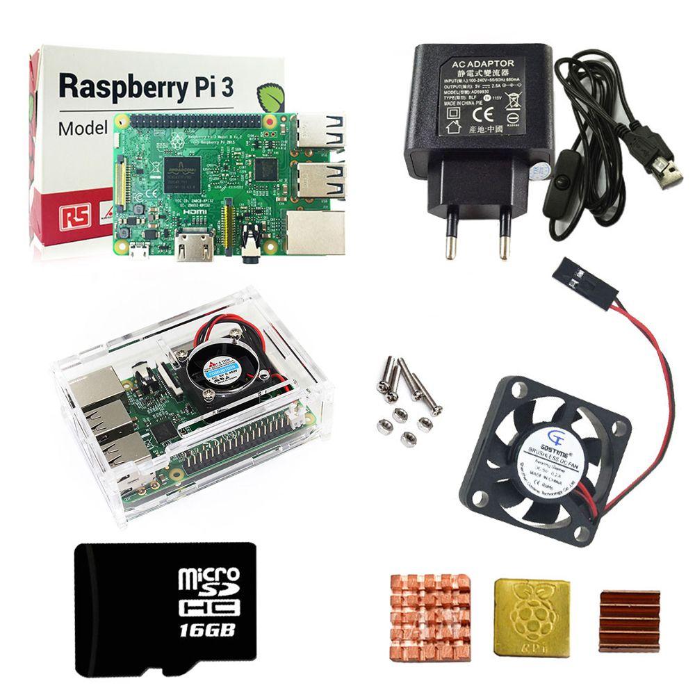 Raspberry Pi 3 комплект + акриловый чехол + ЕС Питание + USB кабель с выключателем + 16 г Micro SD карта + теплоотвод с Wi-Fi Bluetooth