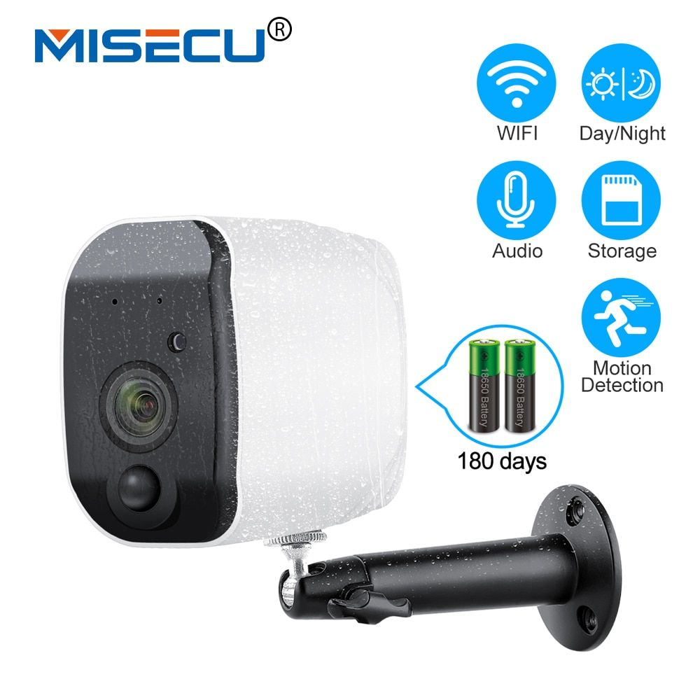 MISECU Outdoor 1080p Full HD Battery Camera 2.4G WiFi Wireless IP66 Waterproof IP Camera Indoor Home Security H.265 Low Power