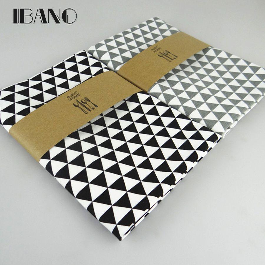 4 pièces/ensemble 30X40 CM 100% coton classique noir imprimé torchon de cuisine torchon de nettoyage torchon Ultra durable pano de prato