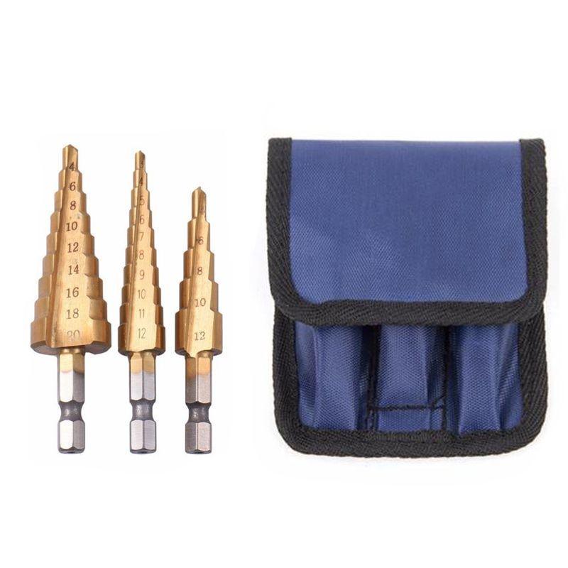3 pc Hss étape cône conique foret ensemble métal trou Cutter métrique 3-12 4-12 4-20mm 1/4 titane enduit métal Hex cône