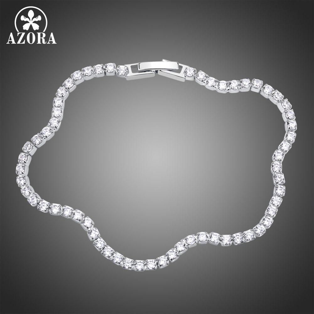 AZORA Luxus Klar Zirkonia Arc Armband Für Hochzeit Silber Armband Strass Charme Frauen Armreifen Schmuck TS0190