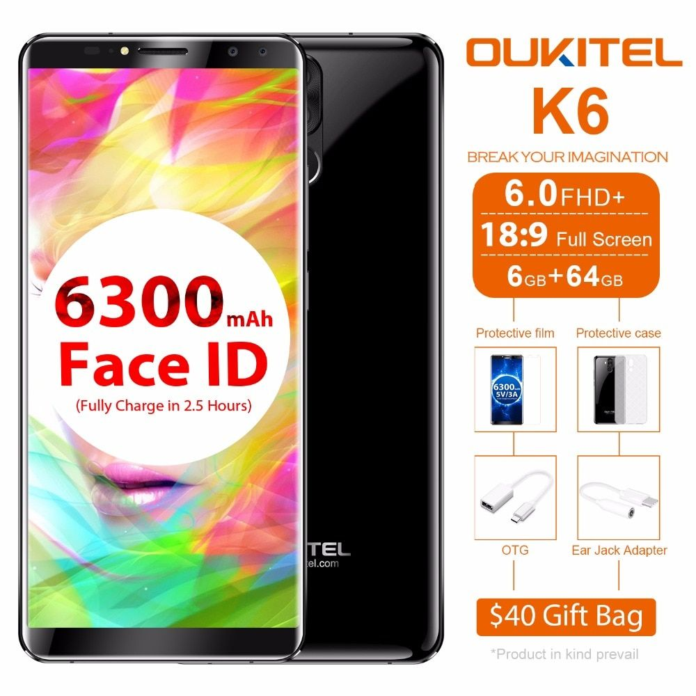 Oukitel K6 Mobile Phone Android 7.1 MT6763 Octa Core 6GB+64GB 6.0