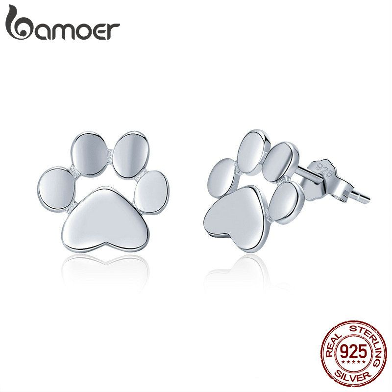BAMOER 100% 925 Sterling Silver Animal Dog Cat Footprints Stud Earrings for Women Fashion Sterling Silver Jewelry Gift SCE407-2
