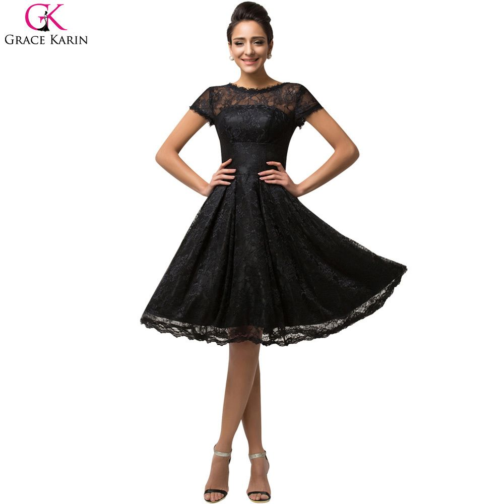 Cocktail Dresses Grace Karin Elegant A Line Black Lace Cocktail Dress Party Short Sleeve Mother of the Bride Dress 2017