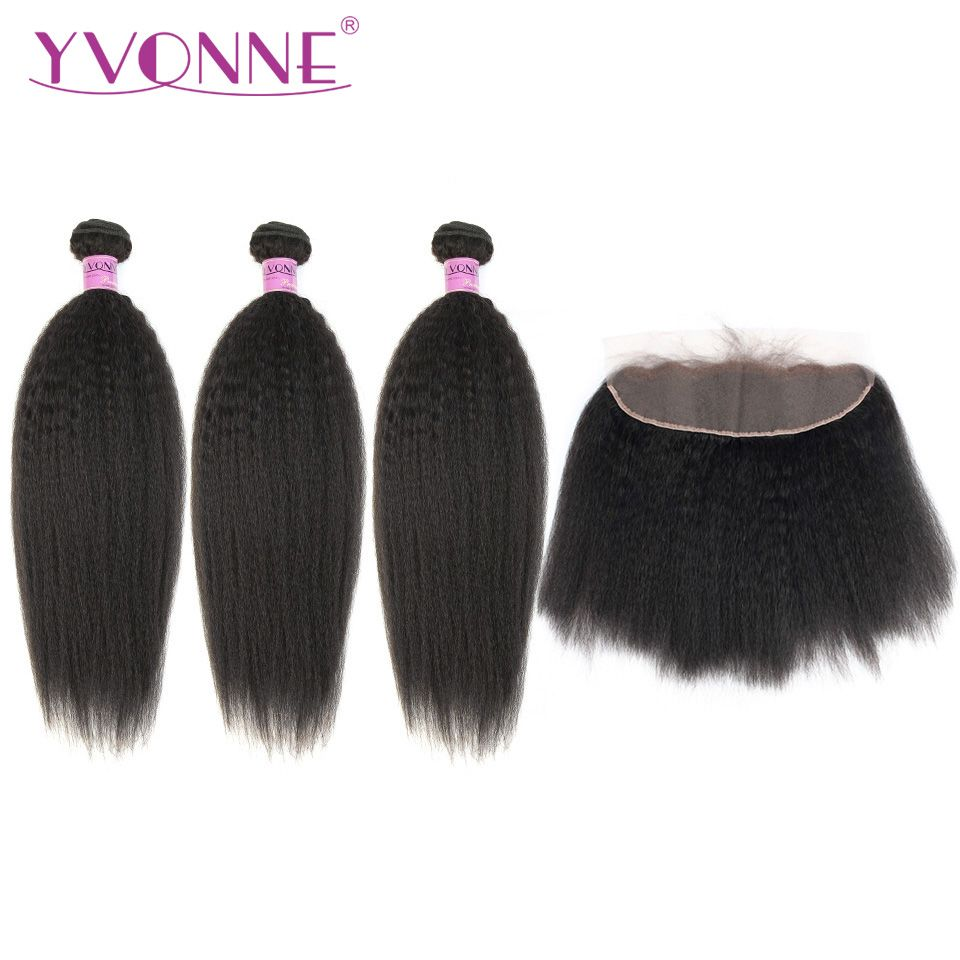 Yvonne Brazilian Virgin Kinky Straight Hair Bundles With Frontal Natural Color 3Pcs Human Hair Bundles With 13*4 lace Frontal