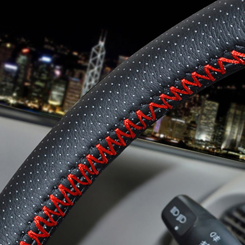GLCC DIY Braid on the Steering Wheel Soft Faux Leather Steering Wheel Cover 38cm Universal With Needle and Thread
