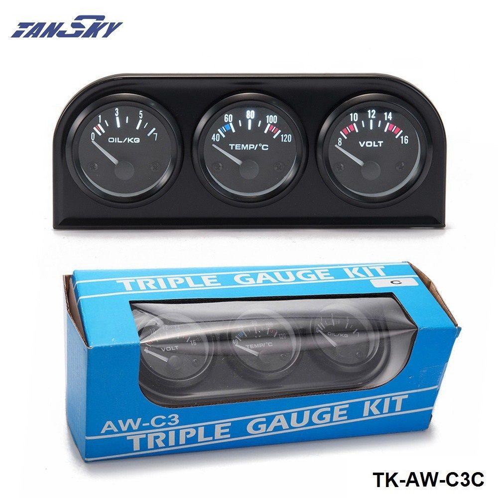 52mm Triple Gauge Kit Car 3in1 Vot Gauge Water Temp Meter Oil Pressure Gauge Or Oil Temp Gauge With Sensor TK-AW-C3