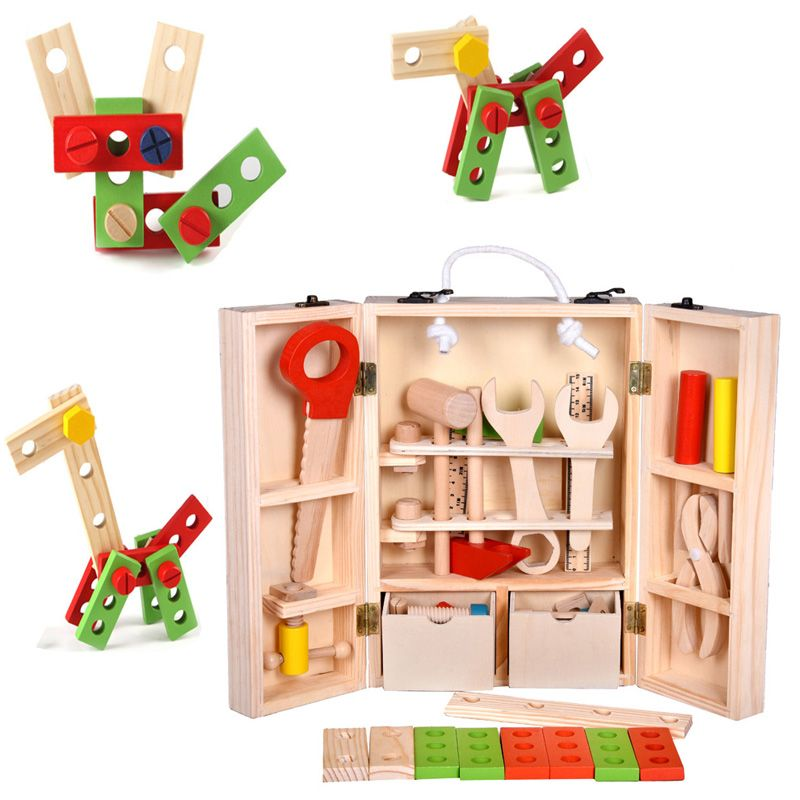 Baby Toys Kids Wooden Multifunctional Tool Set Maintenance Box Wooden Toy Baby Nut Combination Chirstmas/Birthday Gift
