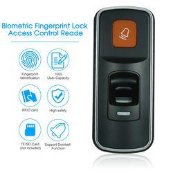 Kunci Sidik Jari biometrik Kontrol Akses Reader Dukungan Kartu Sidik Jari RFID Bel Fungsi TF/SD Card