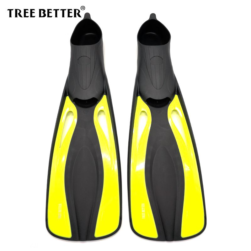 TREE BETTER Swimming fins Training Diving fins Silicone soft Snorkeling Flipper long Foot Submersible Frog shoes Yellow XS XL