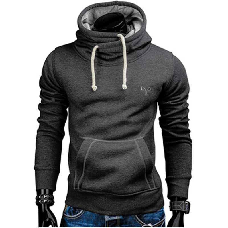2018 Nouveau Printemps Automne Hoodies Hommes Marque De Mode Pull Solide Couleur Col Roulé Sport Sweat Hommes Survêtements Moleton