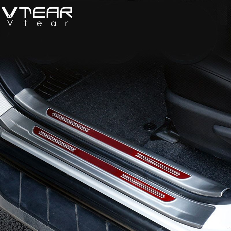 Vtear For Toyota RAV4 RAV 4 2013-2018 Stainless Steel Inside Door Sill Protector Pedal Scuff Plate Cover Trims Accessories
