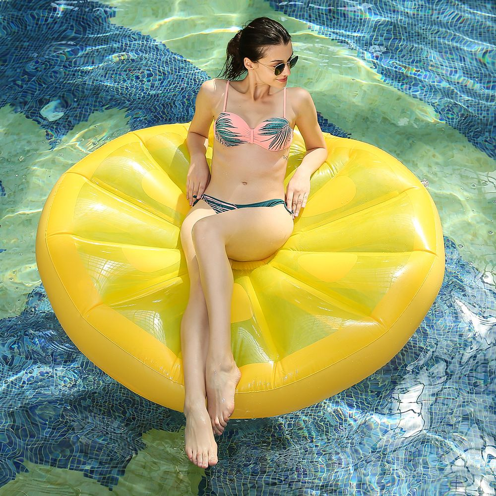 Giant Pool Float Inflatable Lemon Air Mattress Lounger for Adults Beach Water Toys Swimming Ring Lifebuoy Sea Party Boia Piscina