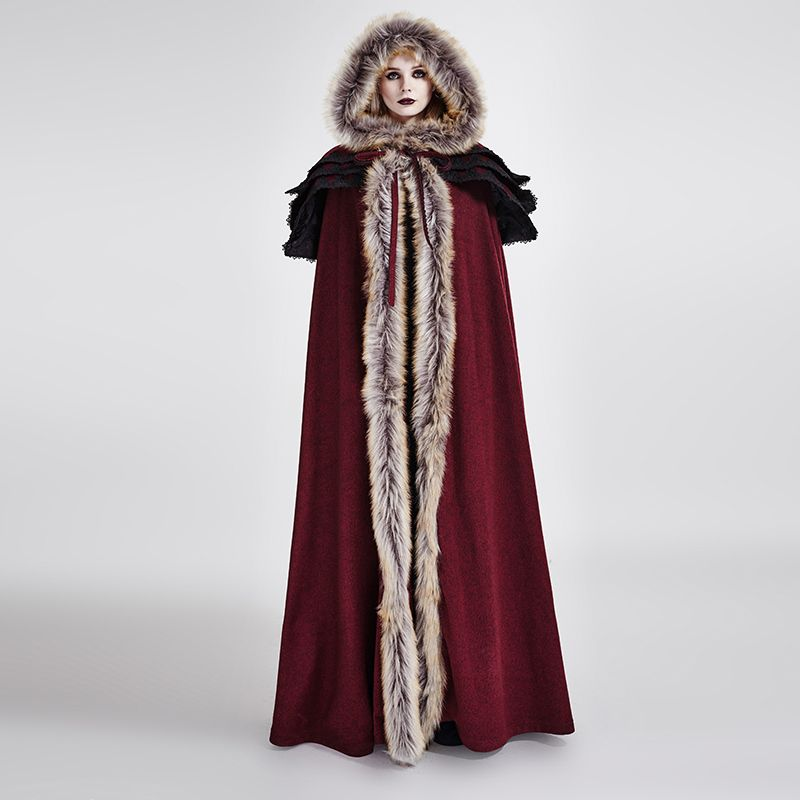 Панк готический осень-зима Длинные шерстяной воротник плащ пальто Для женщин Винтаж Длинный плащ Накидки теплые пальто с капюшоном