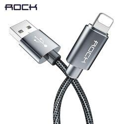 ROCK USB Câble pour iPhone 8 7 6 6 s Métal Alliage Nylon Tresse Rapide De Charge USB Câble pour iPhone X 10 SE 5 5S pour iPad chargeur