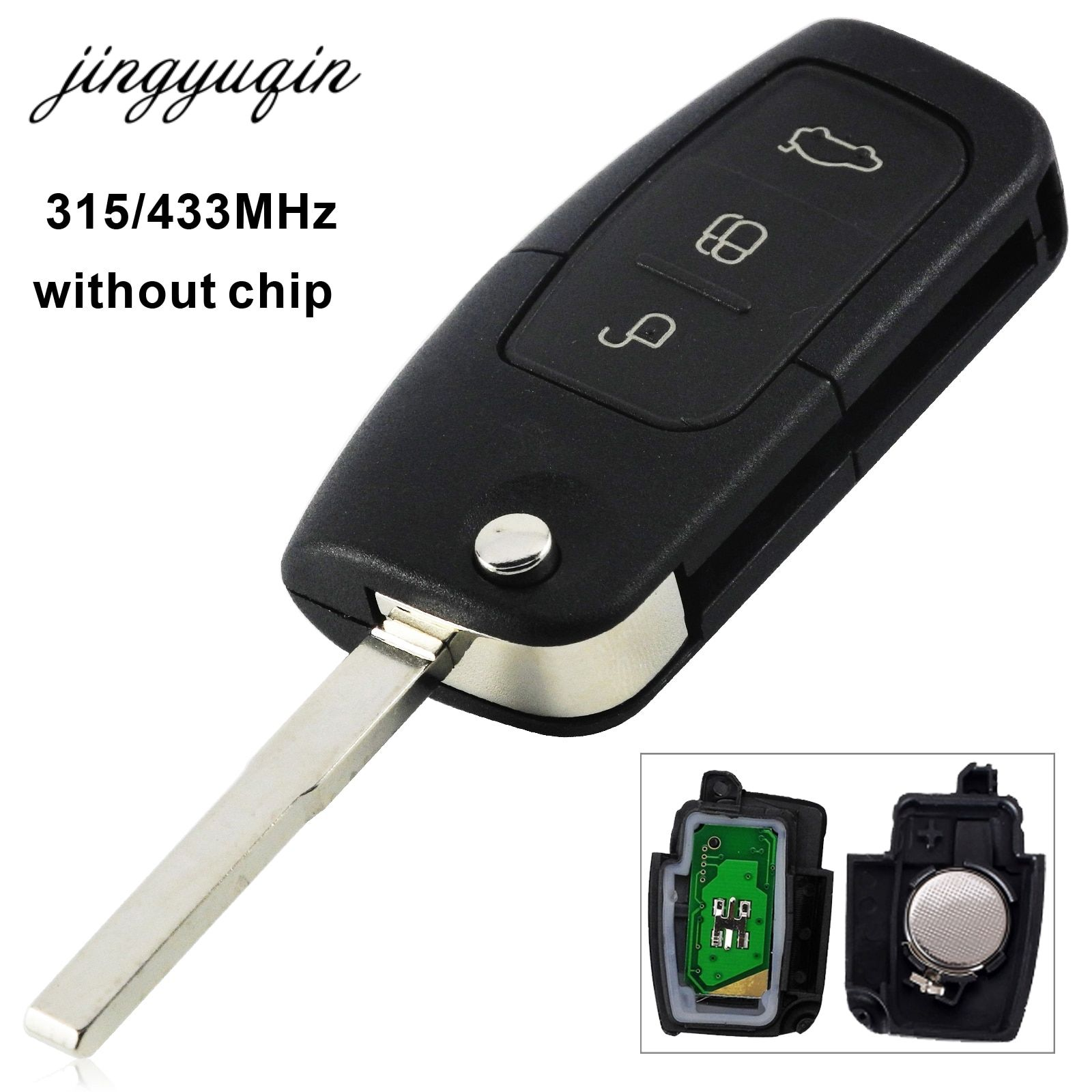jingyuqin 315/433 MHz 3 Button Keyless Entry Remote Key Fob For Ford Focus Mondeo C Max S Max Galaxy Fiesta HU101 Blade