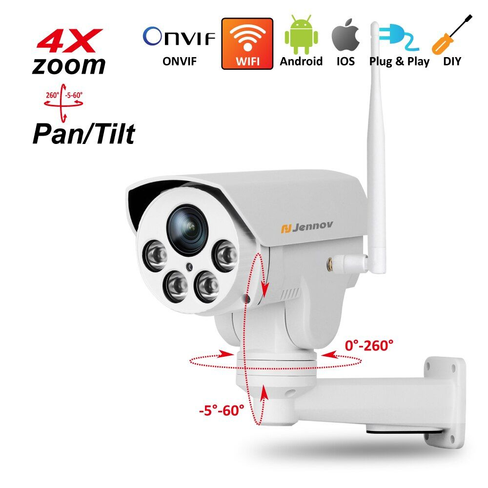 PTZ IP Camera Wireless Wifi 4X Zoom 2.8-12mm,2.8mm ,3.6mm 6mm Full HD 1080P 960P Outdoor Security ipCam Audio Video Surveillance