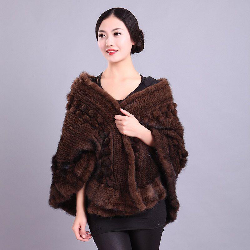 2015 NEW High Quality Genuine Knitted Mink Fur Shawl Poncho Warp Winter Women Real Mink Fur Jackets Natural Fur Shawls DL6209