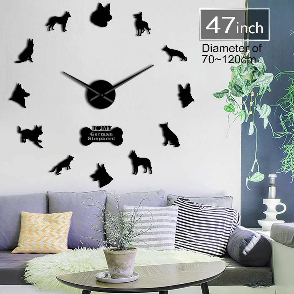 Berger allemand bricolage horloge murale Deutscher Schferhund horloge murale géante avec grandes aiguilles effet miroir loup alsacien chien Art mural