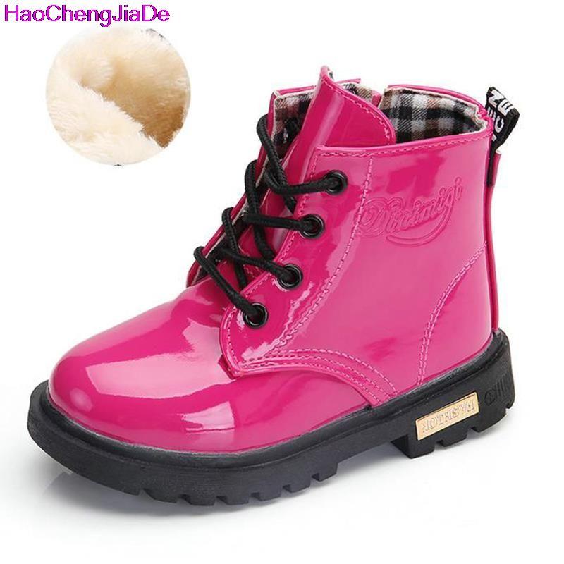 Обувь для мальчиков резиновая Сапоги и ботинки для девочек новый осень-зима из искусственной кожи Водонепроницаемый Мартинсы детские зимн...