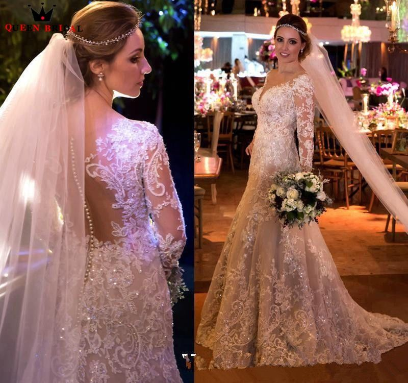 Custom Made Mermaid Long Sleeve Lace Beading Sequins Pearls Sexy Wedding Dresses Vintage Luxury Bridal Gowns 2019 New KB02E