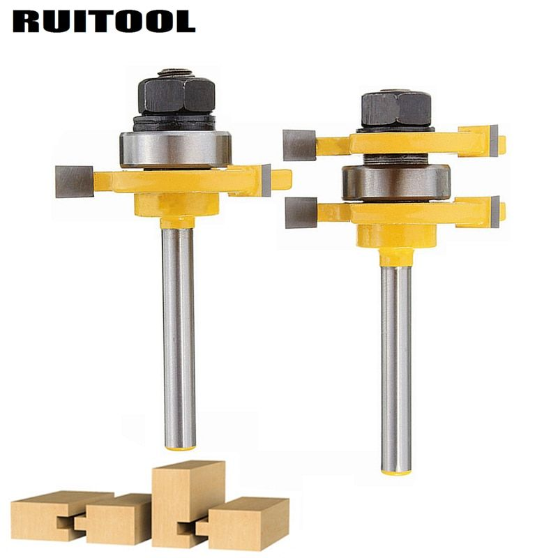 2pcs/set 1/4'' Woodworking Milling Cutter T-style Tongue Groove Router Bit Wood Cutter For Wood Flooring Wainscot Panel Tools