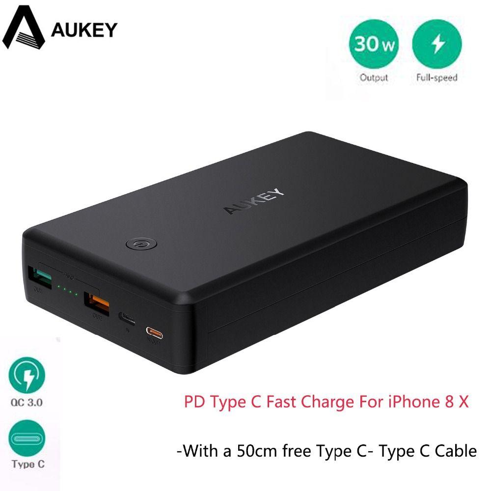 AUKEY Charge Rapide 3.0 2 USB Puissance Banque 30000 mAh Portable PD rapide Chargeur + 30 W La Livraison de Puissance Powerbank Chargeur Pour iPhone 8 X