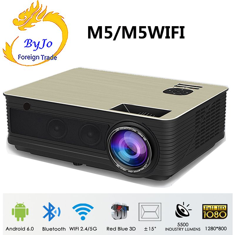 Poner Saund M5 Full HD LED projector Home theater system 3D Proyector Built-in HIFI speakers Selectable Android M5 Wifi PK led96