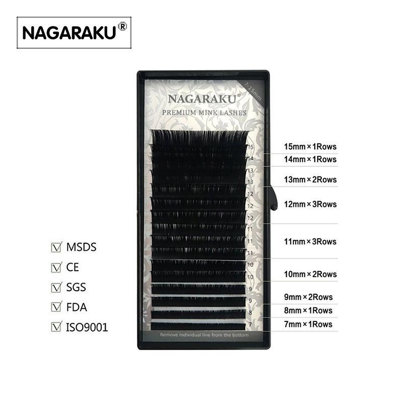 NAGARAKU 16 filas/case, 7 ~ 15mm de la mezcla en una bandeja, sintético de alta calidad de visón, visón natural, extensión individual de la pestaña