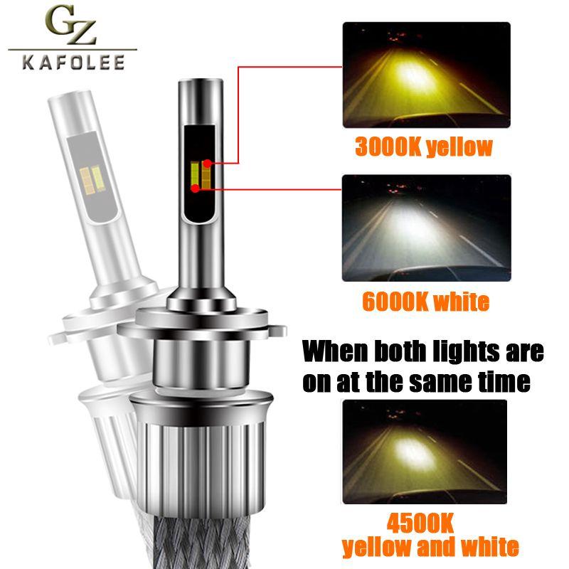 GZ KAFOLEE Tricolor h7 led 6000K 3000K 4300K H11 Led lamps Auto Light H1 H4 H9 h7 led 12000lm 9005 9006 D1S Car Headlight Bulbs