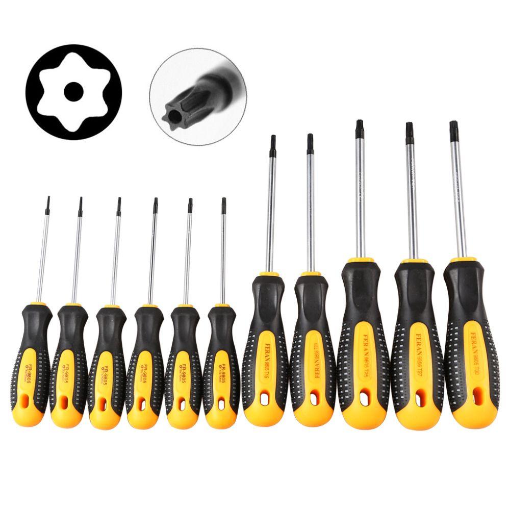 1 jeu de tournevis Torx cr-v avec trou T5-T30 magnétique Kit de tournevis pour Kit d'outils à main de réparation téléphonique
