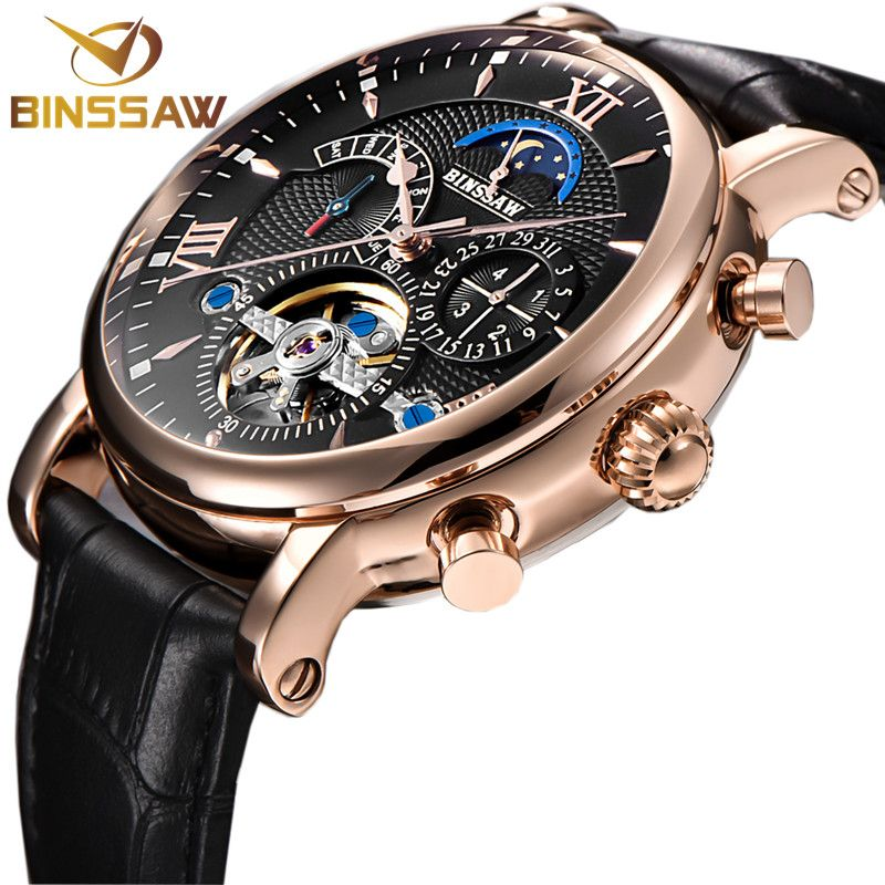 BINSSAW 2018 Men Automatic Mechanical Tourbillon Watch Fashion Business Leather Stainless Steel Sports Watches Relogio Masculino