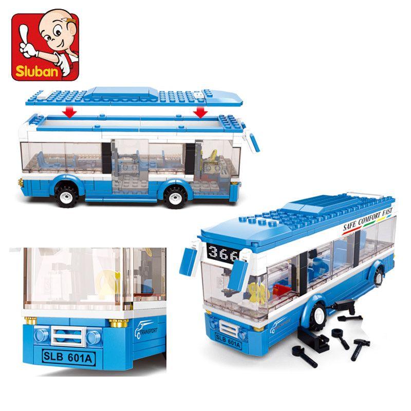 Sluban 0330 Blocs de construction City Bus Blocs De Construction 235 + pcs Garçons et Filles Éclairer Les Blocs Éducatifs briques à monter soi-même Jouet Pour Enfants