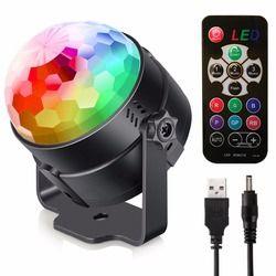 LED Stage Light USB Rechargeable Crystal Magic Ball Mini RGB Stage Lighting Effect Lamp Party Disco Club DJ Lumiere US/EU Plug