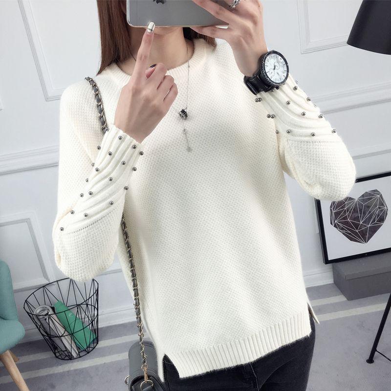 Ohvêtements 2017 nouveau printemps coréen court all-match hiver chandail tricoté chemise avec manches longues lâche femmes pull pull