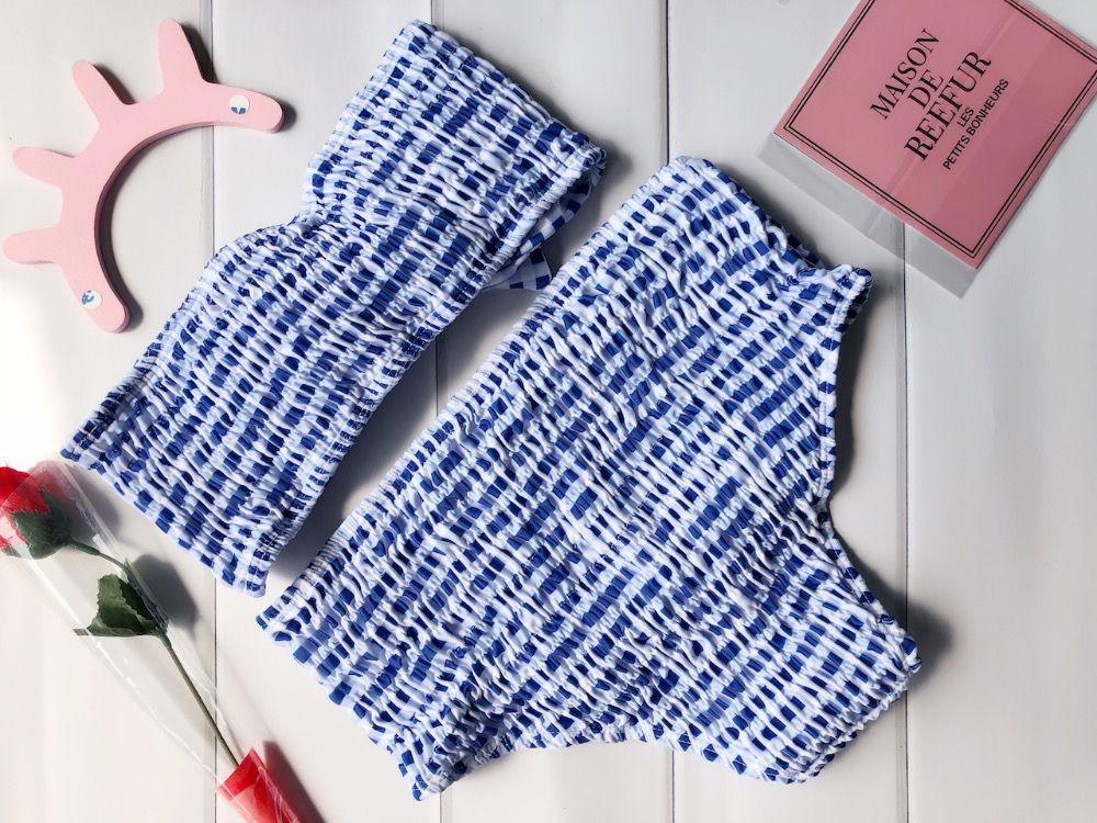 2017 New Folding Pattern <font><b>Grid</b></font> Bikini Set High Waist Swimsuit Bathing Suit Swimwear Beachwear For Women