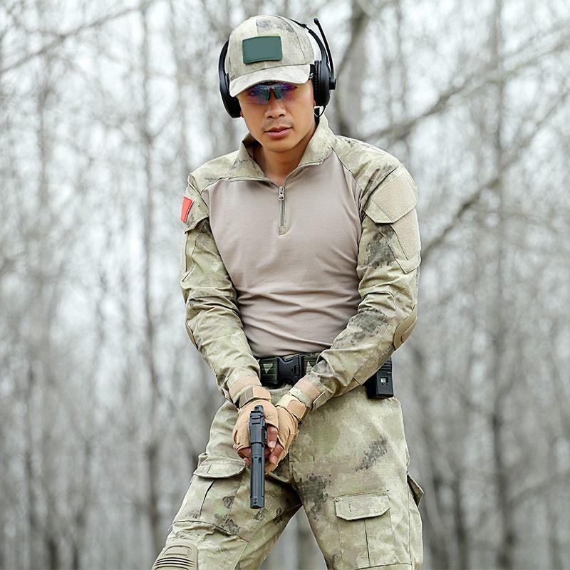 Tactical Wüste digi Tarnung Uniform Kleidung Männer US Army Multicam Jagd Military Combat Shirt + Pants + Knieschützer