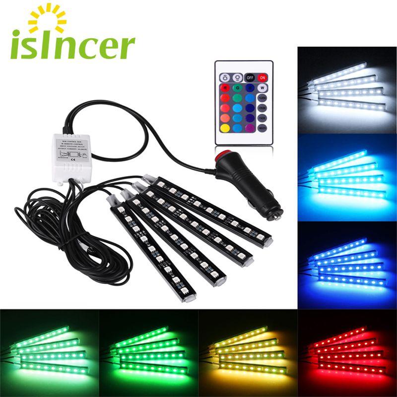ISincer Coche Tira de LED RGB 4*9 unids SMD 5050 10 W Tira de Interior Decorativa de la Atmósfera Del Coche Auto Camino planta de Luz de Control Remoto